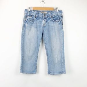 BKE Light Wash Distressed Culture Crop Jeans